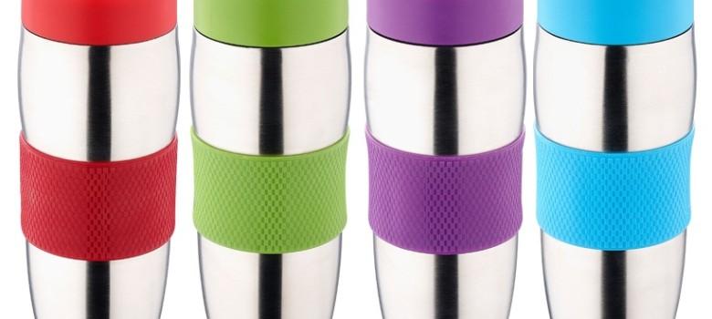 Eleganckie i smukłe kubki termiczne z praktycznym antypoślizgowym paskiem na środku